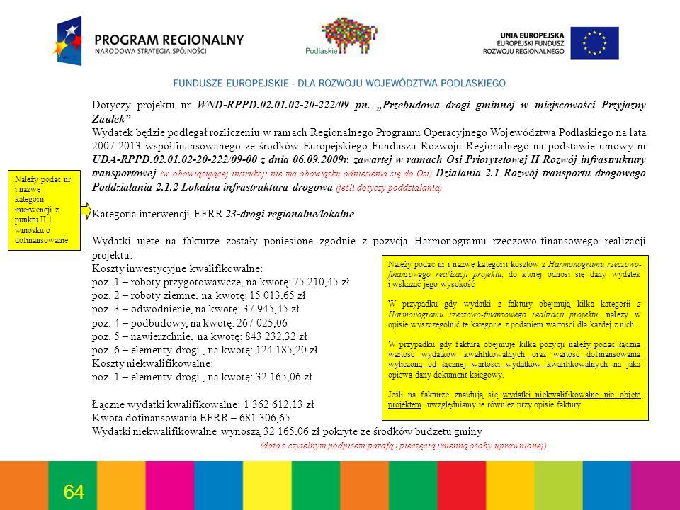 Kategoria interwencji EFRR 23-drogi regionalne/lokalne