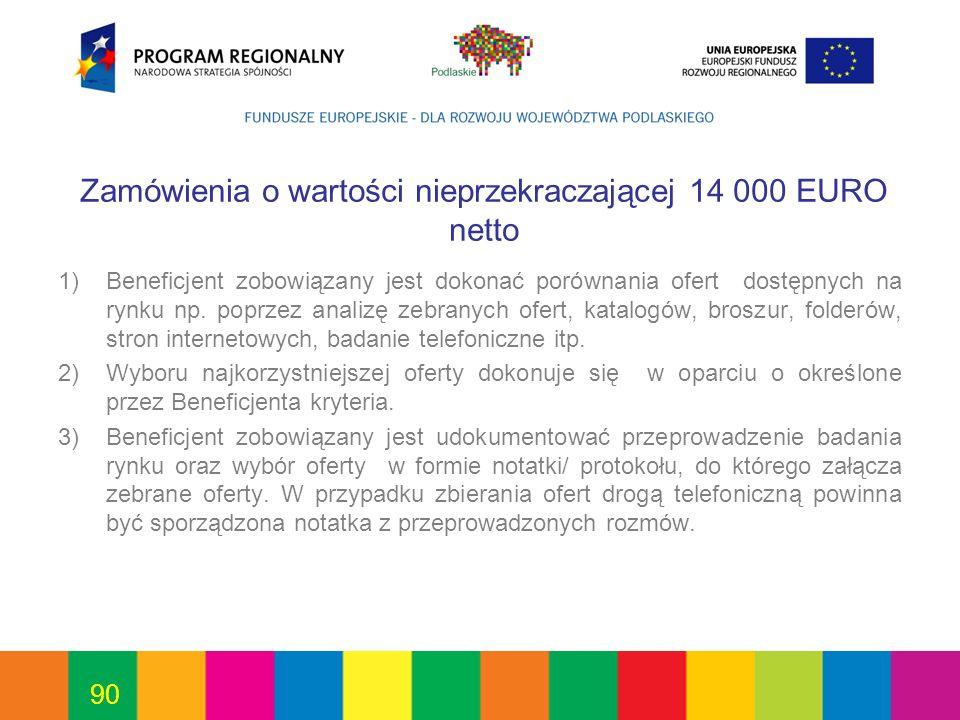 Zamówienia o wartości nieprzekraczającej 14 000 EURO netto