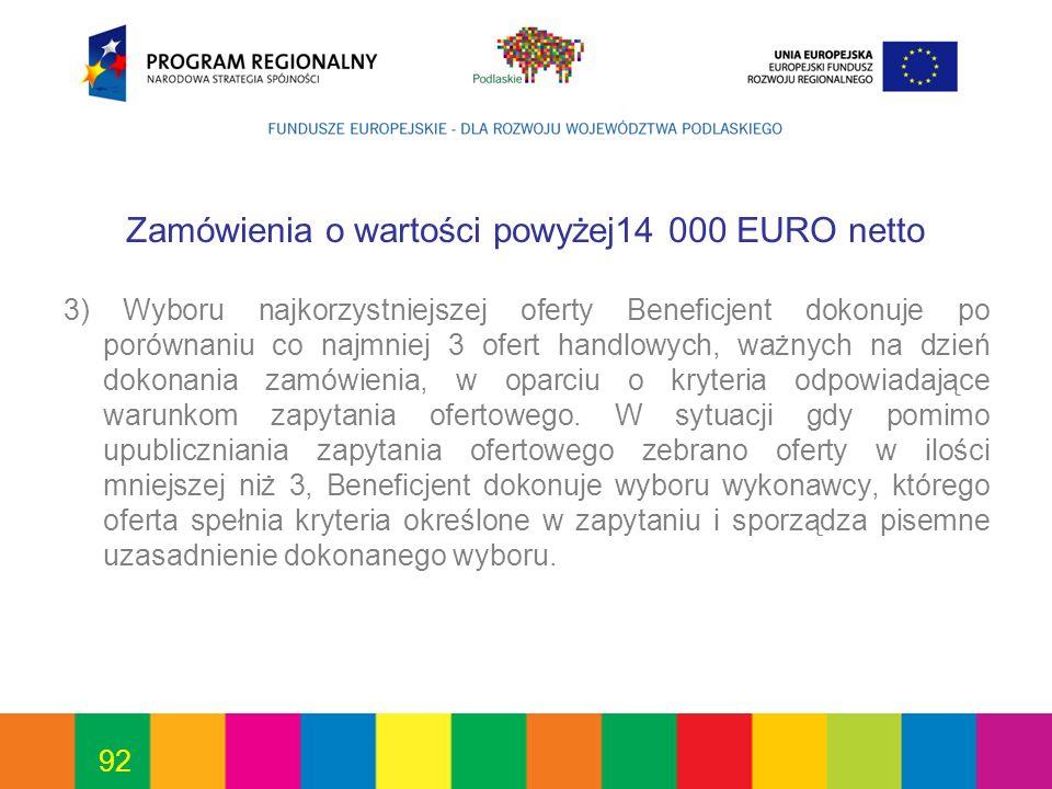 Zamówienia o wartości powyżej14 000 EURO netto