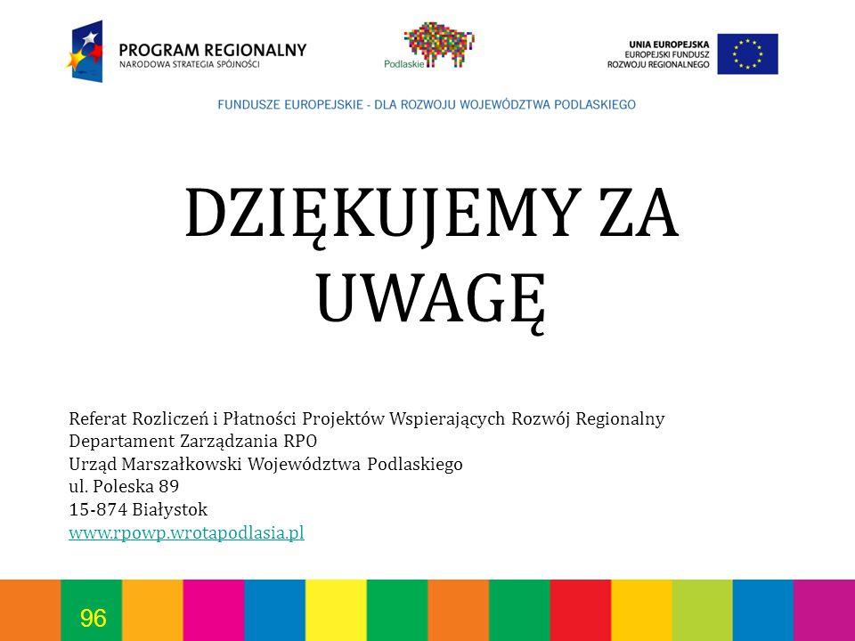 DZIĘKUJEMY ZA UWAGĘReferat Rozliczeń i Płatności Projektów Wspierających Rozwój Regionalny. Departament Zarządzania RPO.