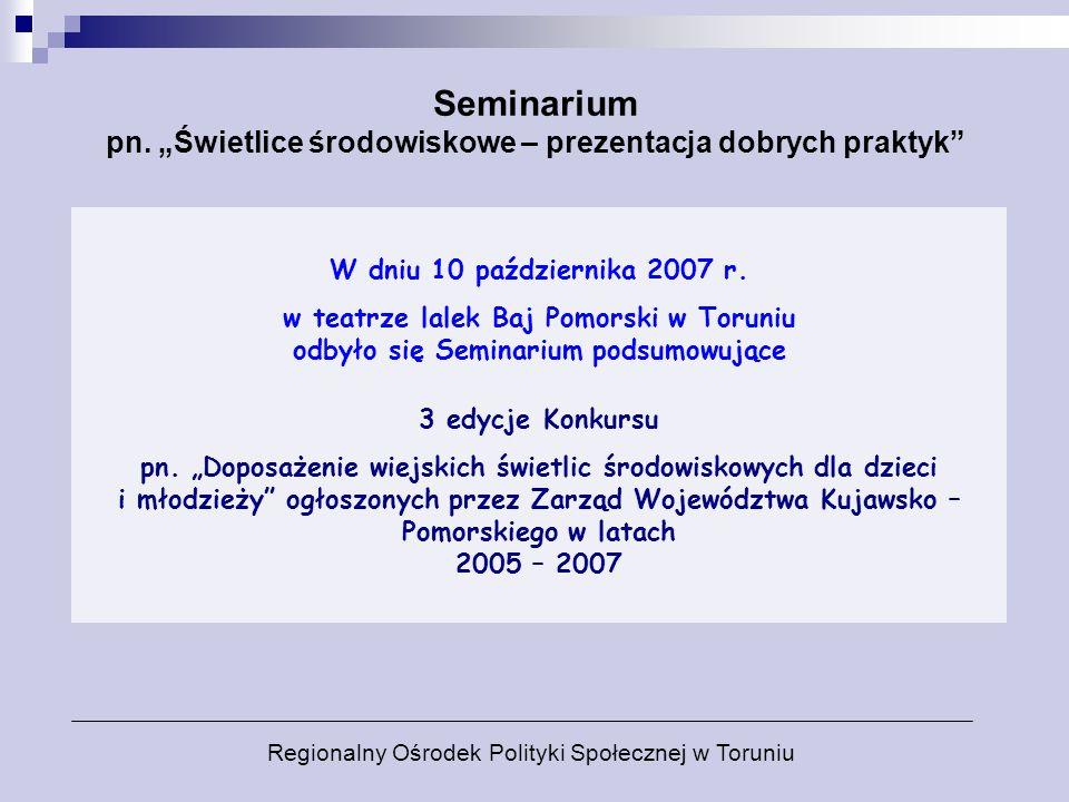 """Seminarium pn. """"Świetlice środowiskowe – prezentacja dobrych praktyk"""