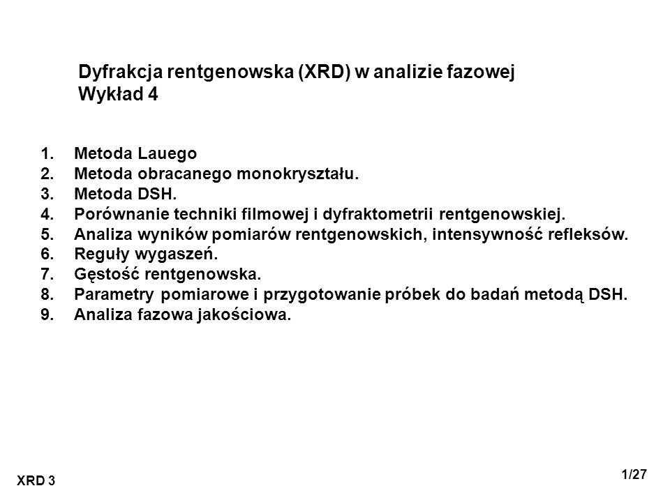 Dyfrakcja rentgenowska (XRD) w analizie fazowej Wykład 4