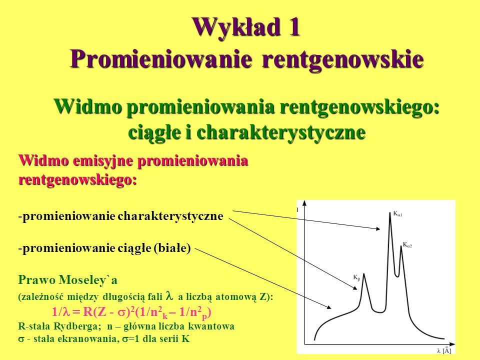 Wykład 1 Promieniowanie rentgenowskie Widmo promieniowania rentgenowskiego: ciągłe i charakterystyczne