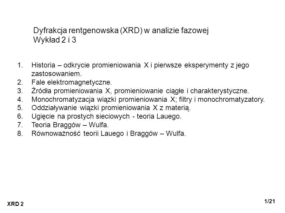 Dyfrakcja rentgenowska (XRD) w analizie fazowej Wykład 2 i 3