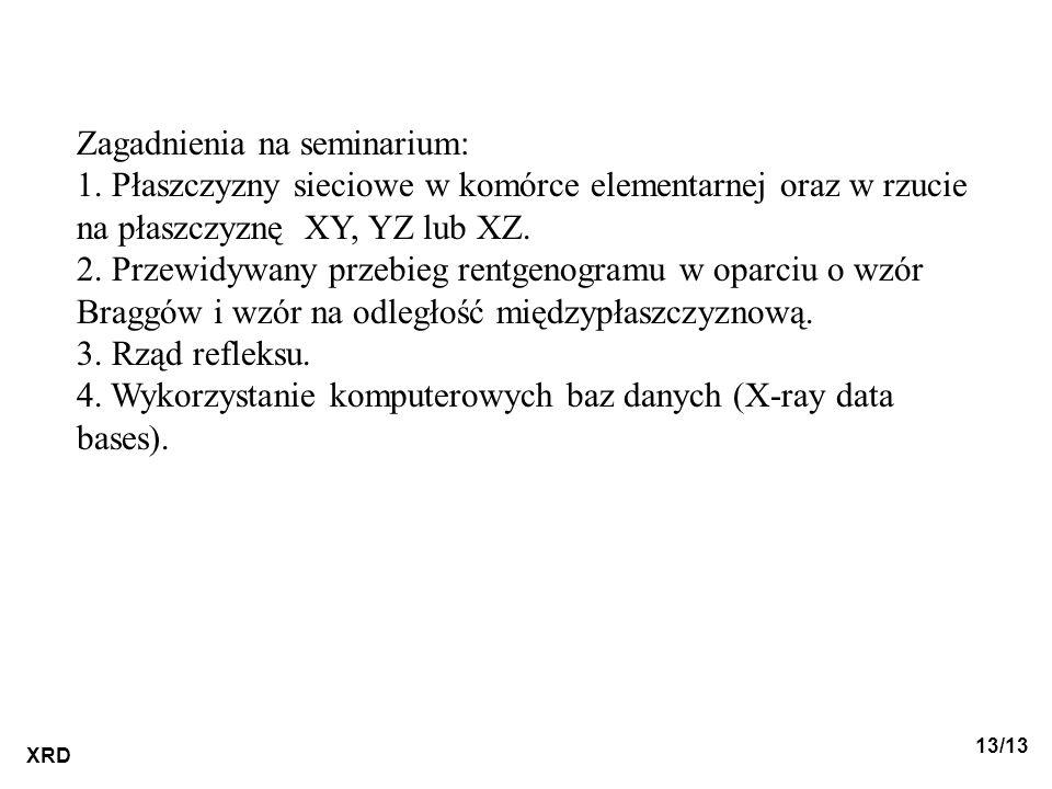 Zagadnienia na seminarium: