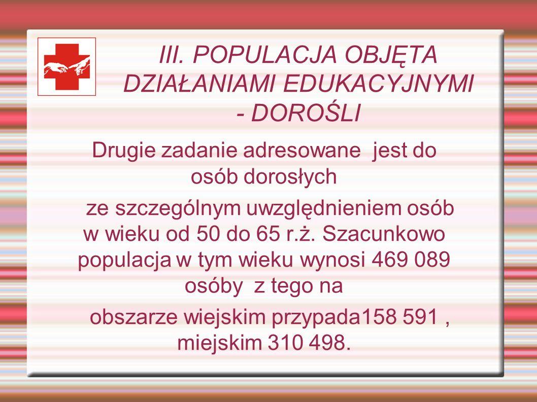 III. POPULACJA OBJĘTA DZIAŁANIAMI EDUKACYJNYMI - DOROŚLI