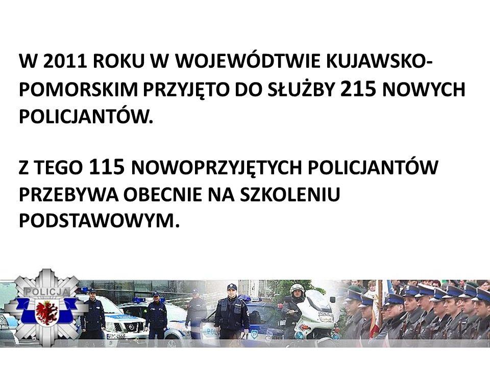 W 2011 ROKU W WOJEWÓDTWIE KUJAWSKO-POMORSKIM PRZYJĘTO DO SŁUŻBY 215 NOWYCH POLICJANTÓW.