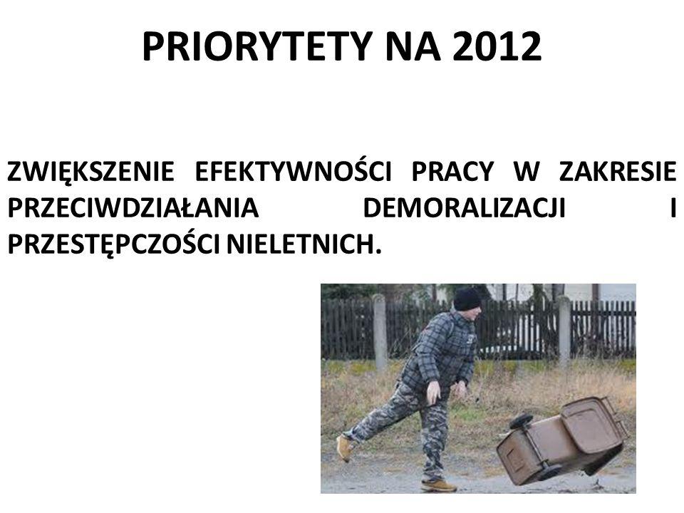 PRIORYTETY NA 2012 ZWIĘKSZENIE EFEKTYWNOŚCI PRACY W ZAKRESIE PRZECIWDZIAŁANIA DEMORALIZACJI I PRZESTĘPCZOŚCI NIELETNICH.