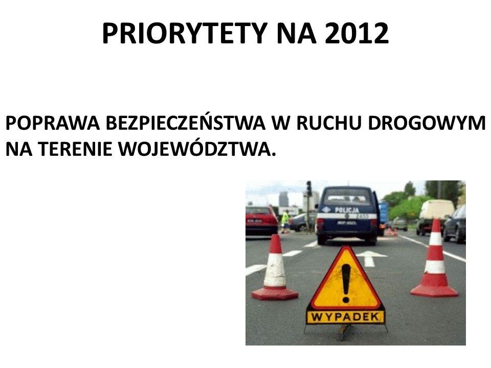 PRIORYTETY NA 2012 POPRAWA BEZPIECZEŃSTWA W RUCHU DROGOWYM NA TERENIE WOJEWÓDZTWA.