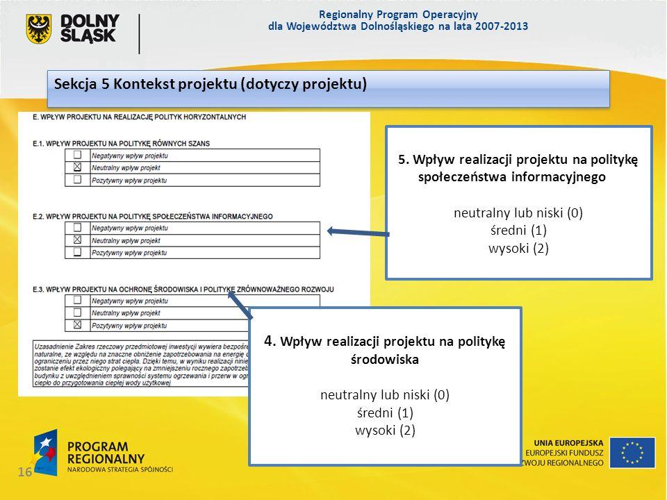 Sekcja 5 Kontekst projektu (dotyczy projektu)