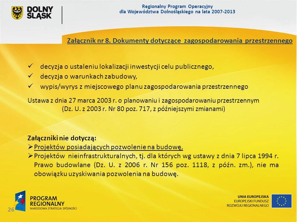 Załącznik nr 8. Dokumenty dotyczące zagospodarowania przestrzennego