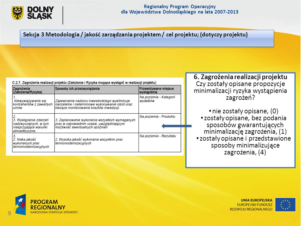 6. Zagrożenia realizacji projektu