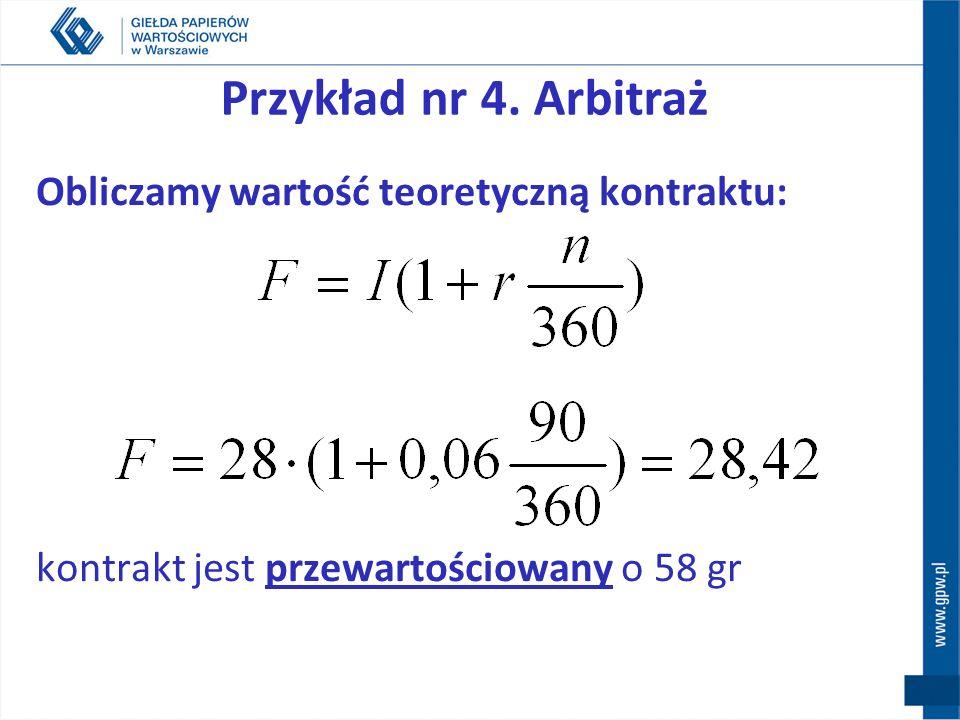 Przykład nr 4. Arbitraż Obliczamy wartość teoretyczną kontraktu: