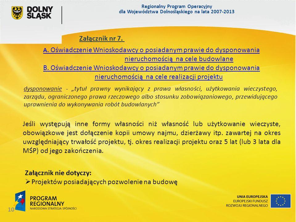Załącznik nie dotyczy: Projektów posiadających pozwolenie na budowę