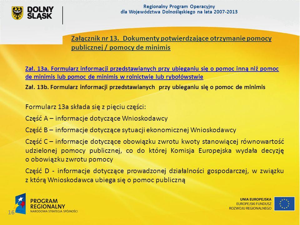 Formularz 13a składa się z pięciu części: