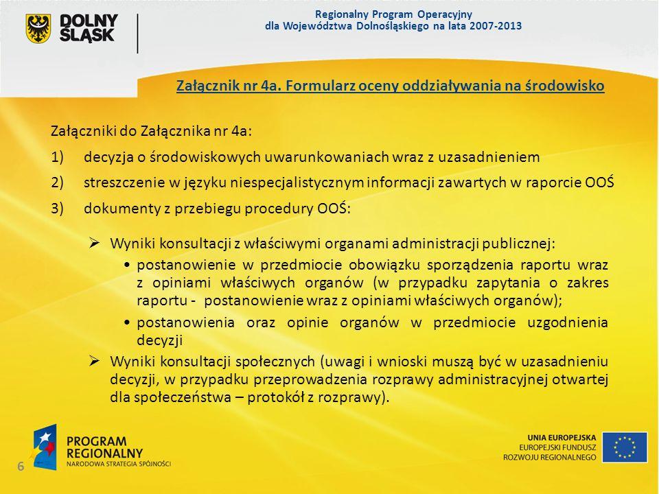 Załącznik nr 4a. Formularz oceny oddziaływania na środowisko