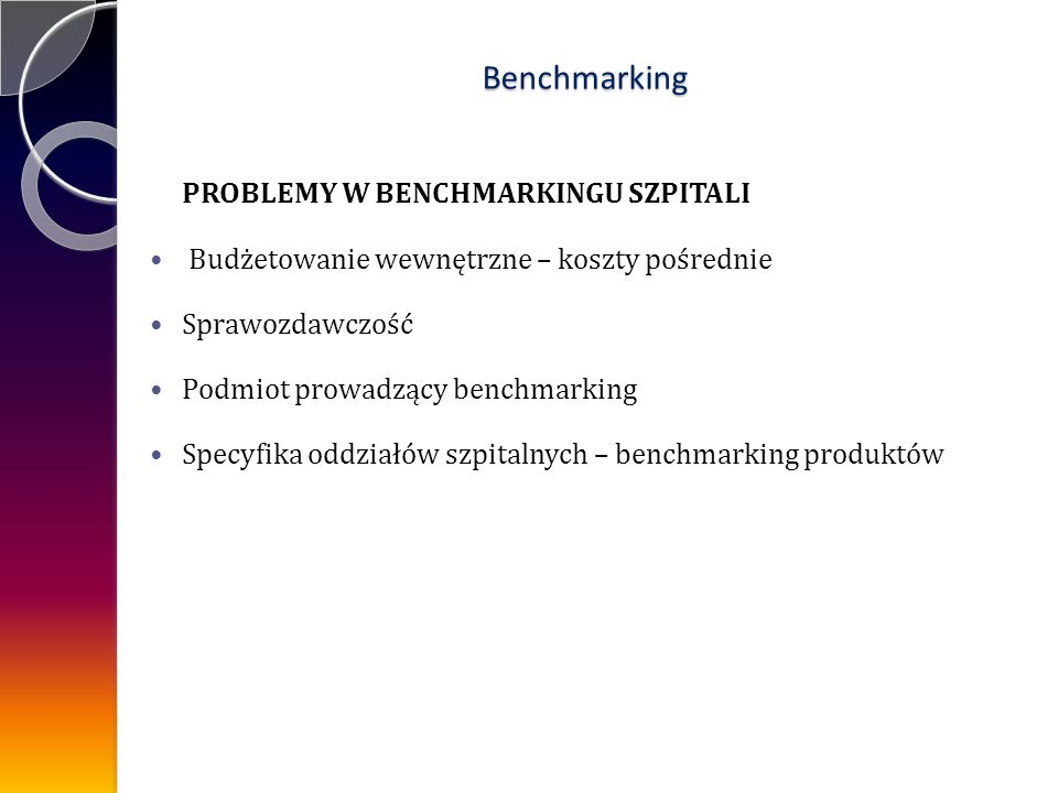 Benchmarking PROBLEMY W BENCHMARKINGU SZPITALI