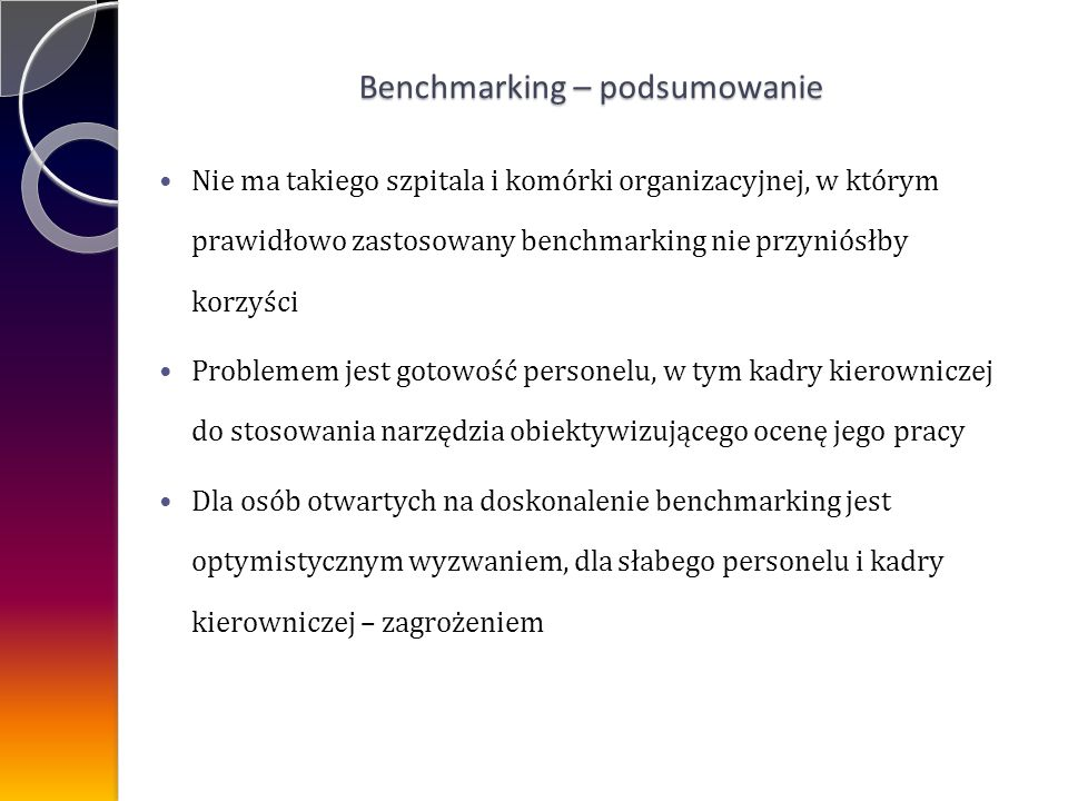 Benchmarking – podsumowanie