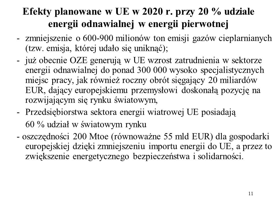 Efekty planowane w UE w 2020 r