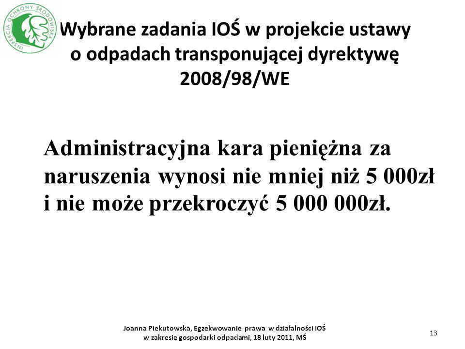 Wybrane zadania IOŚ w projekcie ustawy o odpadach transponującej dyrektywę 2008/98/WE