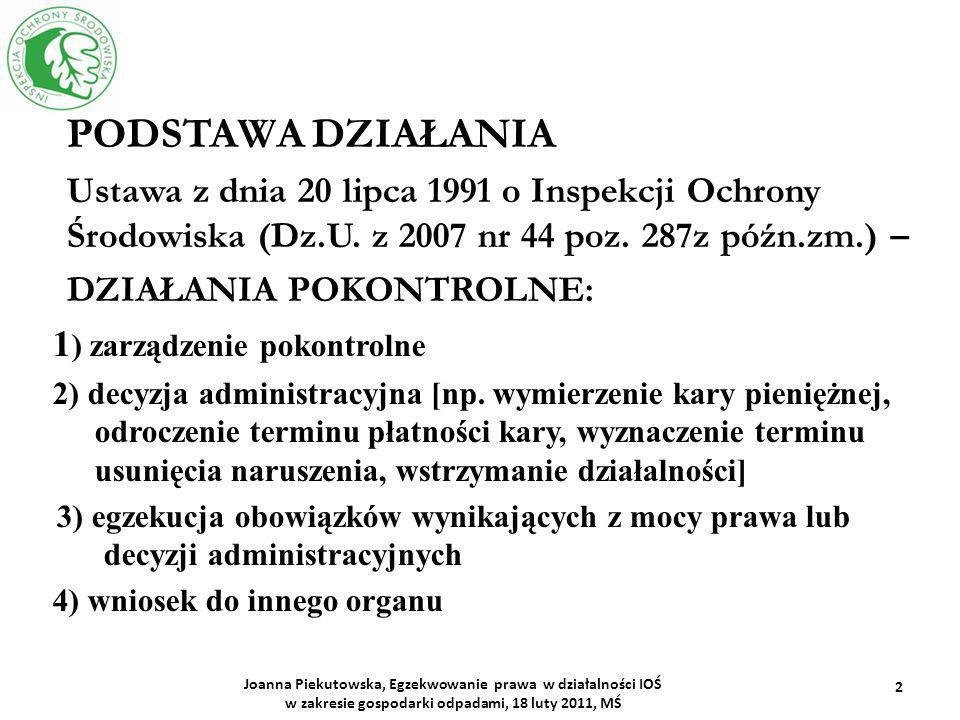 PODSTAWA DZIAŁANIA Ustawa z dnia 20 lipca 1991 o Inspekcji Ochrony Środowiska (Dz.U. z 2007 nr 44 poz. 287z późn.zm.) –