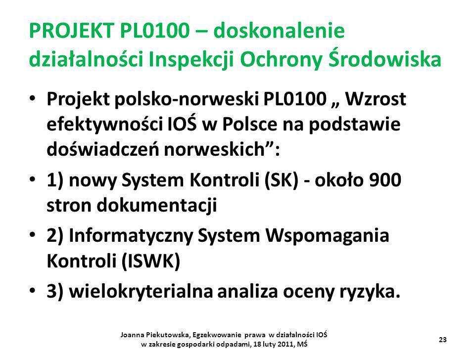 PROJEKT PL0100 – doskonalenie działalności Inspekcji Ochrony Środowiska