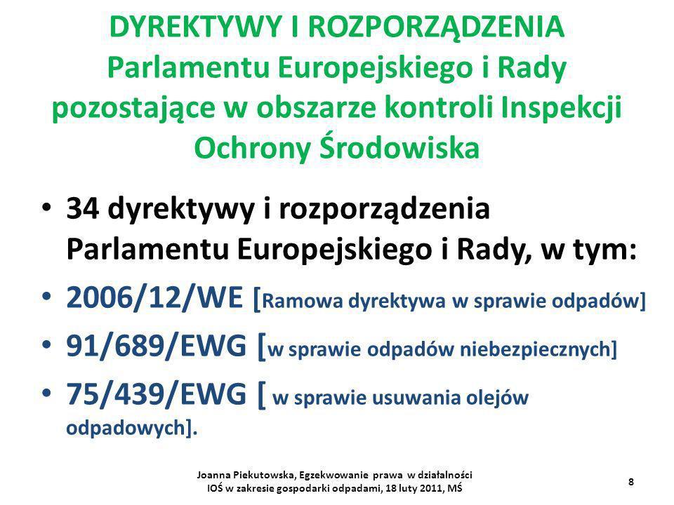 34 dyrektywy i rozporządzenia Parlamentu Europejskiego i Rady, w tym: