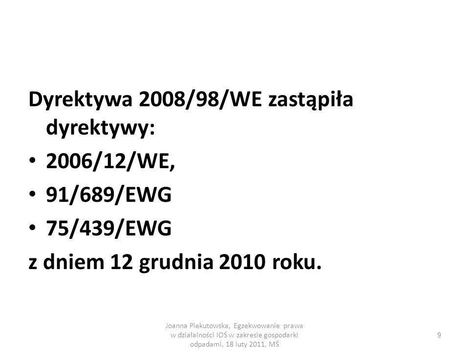 Dyrektywa 2008/98/WE zastąpiła dyrektywy: 2006/12/WE, 91/689/EWG