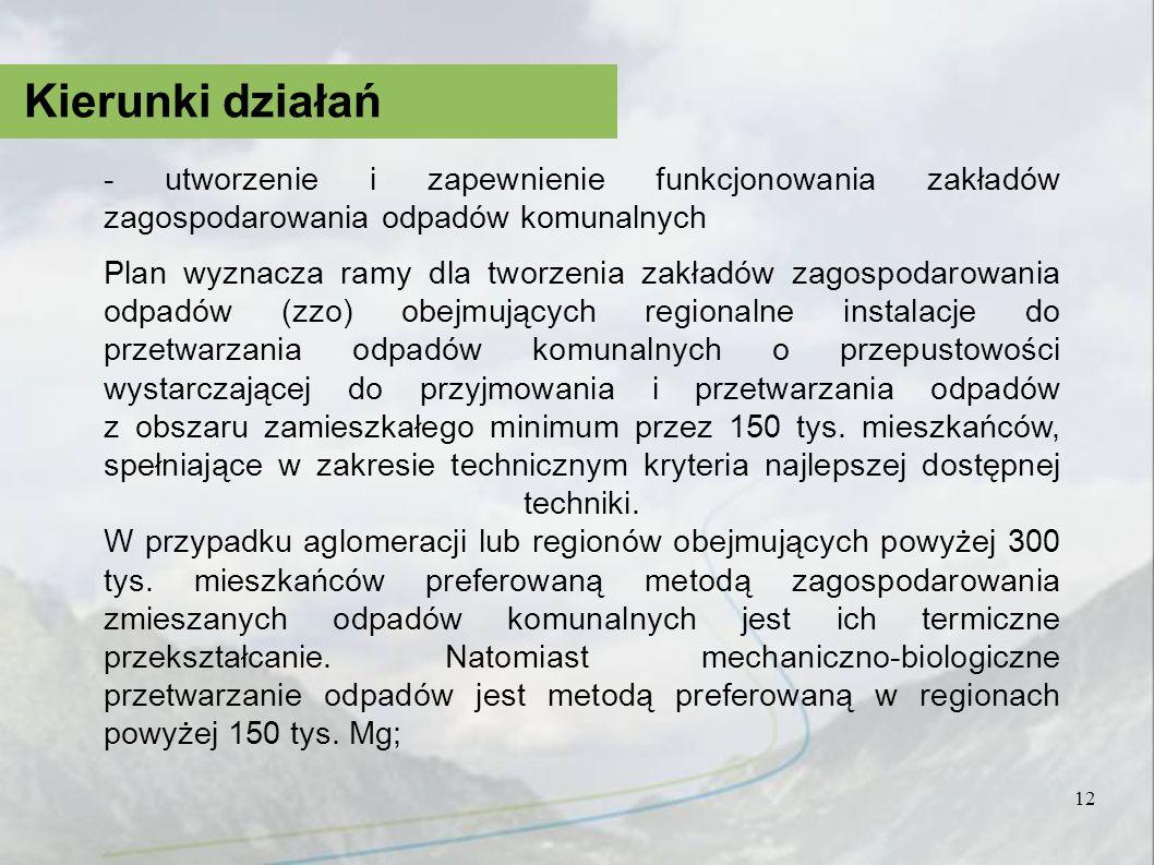 Kierunki działań - utworzenie i zapewnienie funkcjonowania zakładów zagospodarowania odpadów komunalnych.