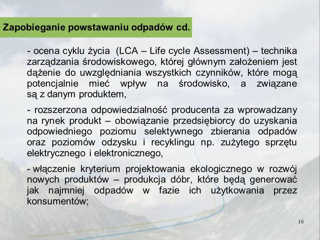 Zapobieganie powstawaniu odpadów cd.