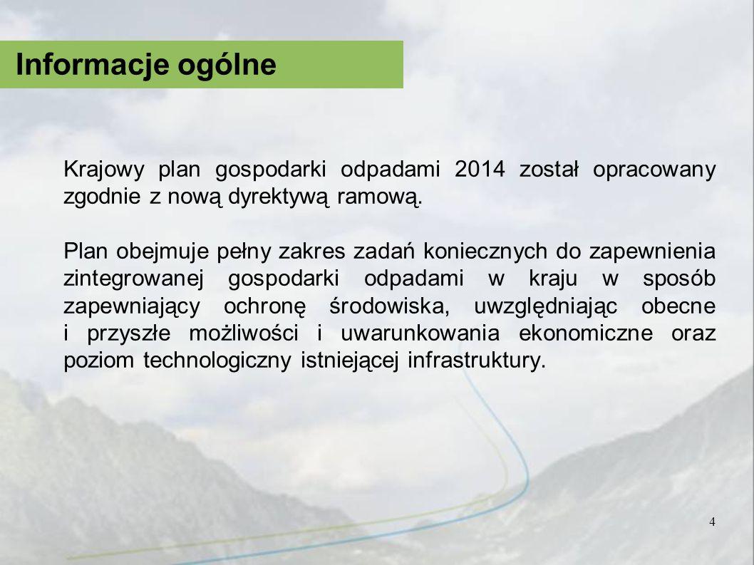 Informacje ogólne Krajowy plan gospodarki odpadami 2014 został opracowany zgodnie z nową dyrektywą ramową.