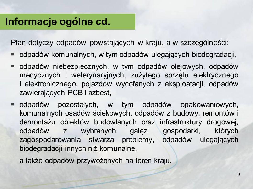 Informacje ogólne cd. Plan dotyczy odpadów powstających w kraju, a w szczególności: odpadów komunalnych, w tym odpadów ulegających biodegradacji,
