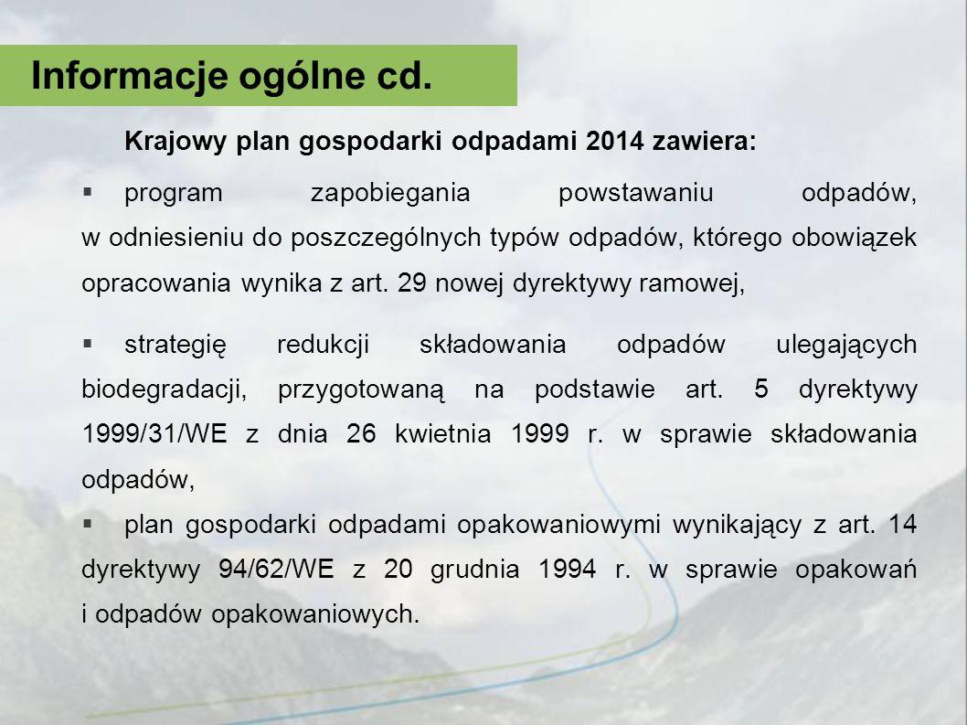 Informacje ogólne cd. Krajowy plan gospodarki odpadami 2014 zawiera: