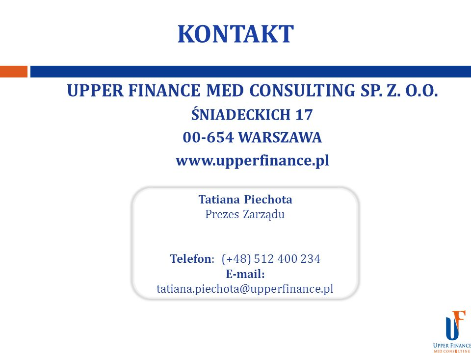 KONTAKT UPPER FINANCE MED CONSULTING SP. Z. O.O. ŚNIADECKICH 17