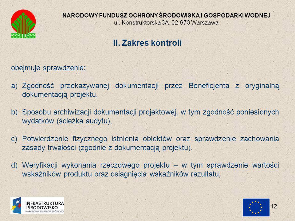 II. Zakres kontroli obejmuje sprawdzenie: