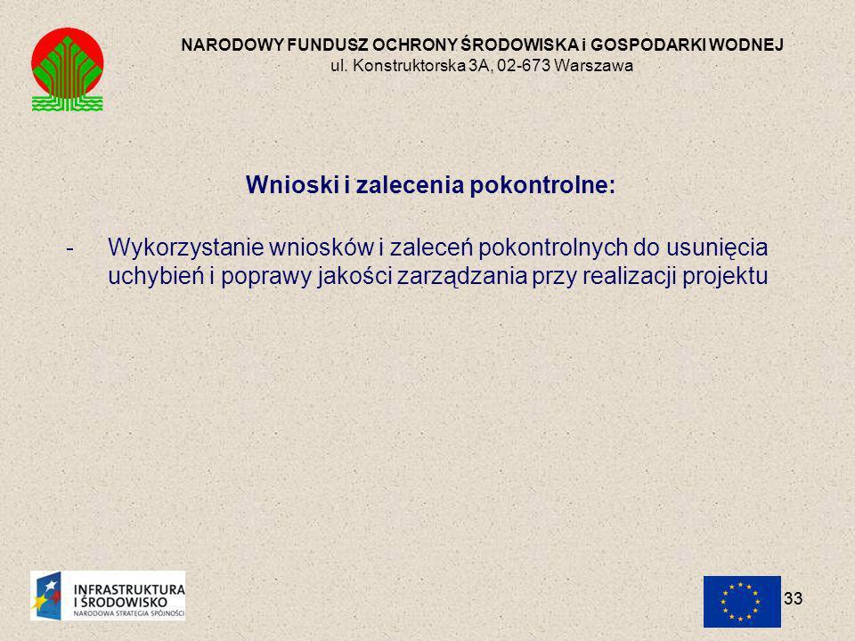 Wnioski i zalecenia pokontrolne: