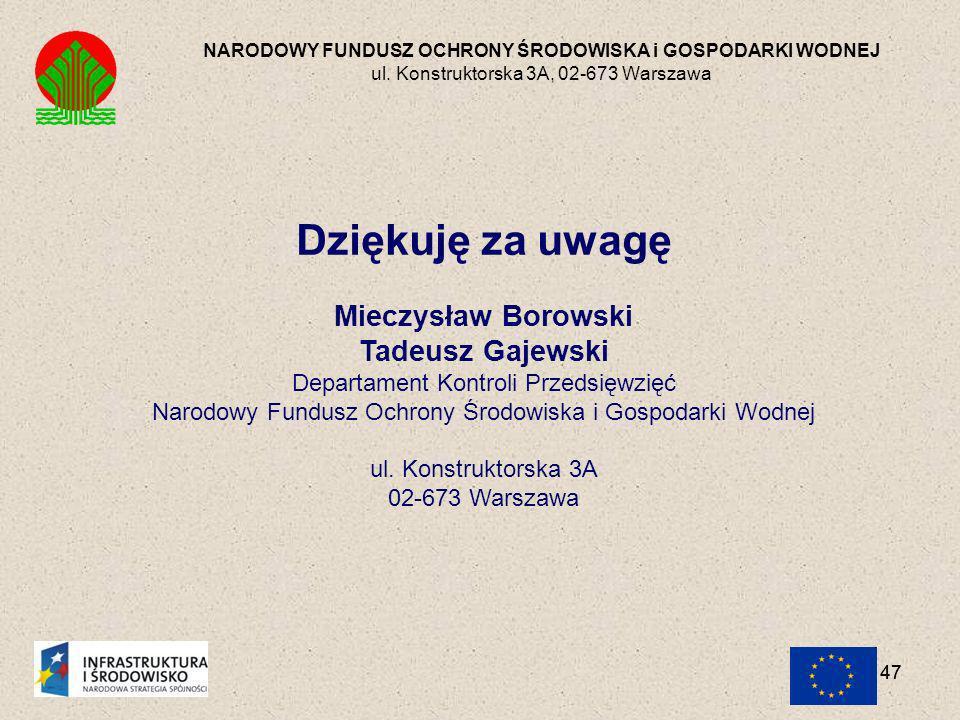 Dziękuję za uwagę Mieczysław Borowski Tadeusz Gajewski
