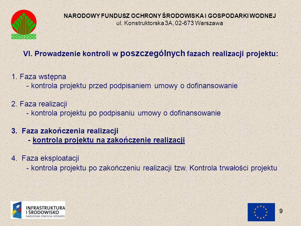 VI. Prowadzenie kontroli w poszczególnych fazach realizacji projektu: