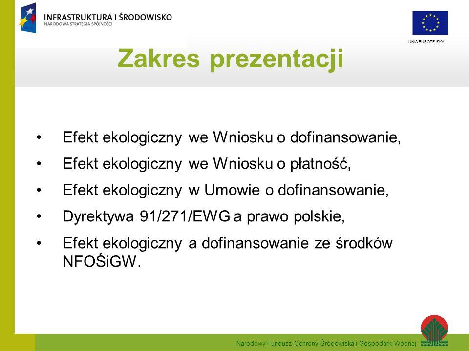 Zakres prezentacji Efekt ekologiczny we Wniosku o dofinansowanie,