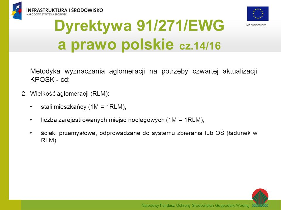 Dyrektywa 91/271/EWG a prawo polskie cz.14/16