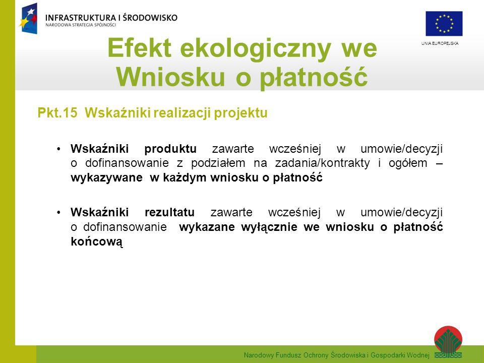 Efekt ekologiczny we Wniosku o płatność