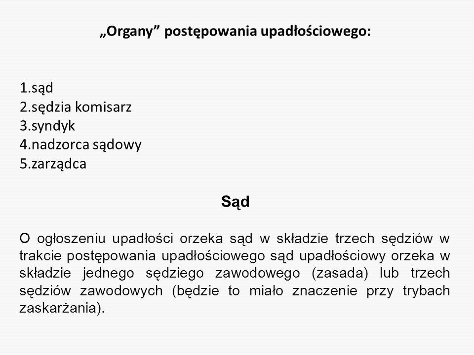 """""""Organy postępowania upadłościowego:"""