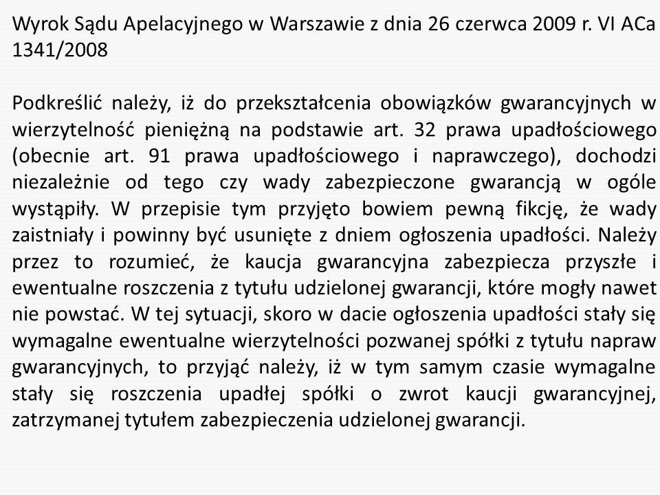 Wyrok Sądu Apelacyjnego w Warszawie z dnia 26 czerwca 2009 r