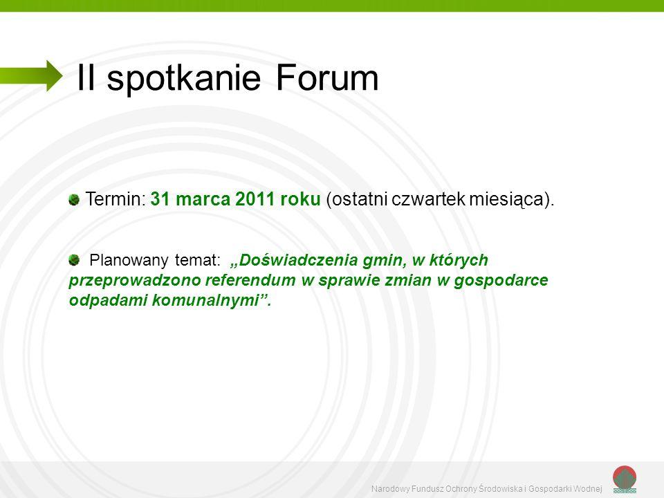 II spotkanie Forum Termin: 31 marca 2011 roku (ostatni czwartek miesiąca).