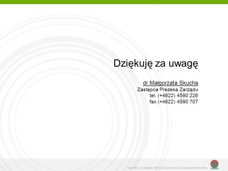 Dziękuję za uwagę dr Małgorzata Skucha Zastępca Prezesa Zarządu