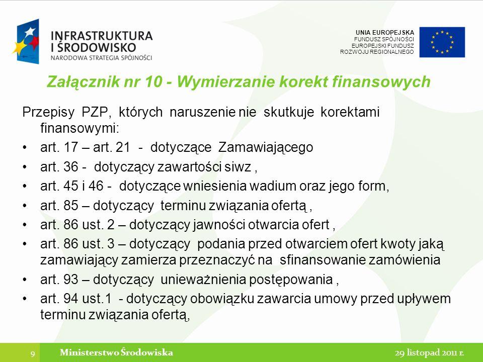 Załącznik nr 10 - Wymierzanie korekt finansowych