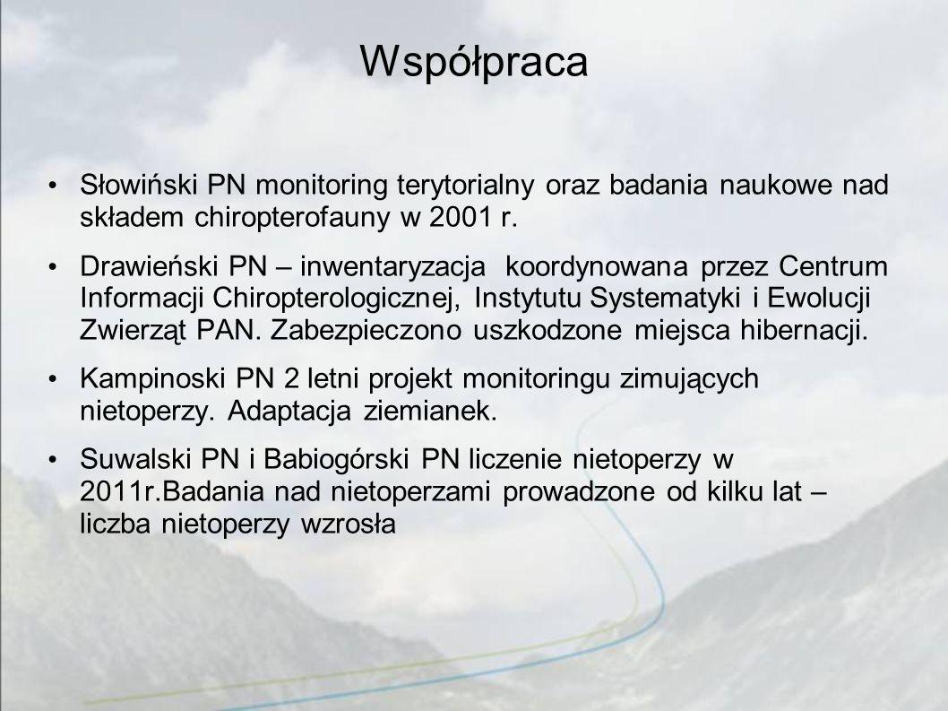 Współpraca Słowiński PN monitoring terytorialny oraz badania naukowe nad składem chiropterofauny w 2001 r.