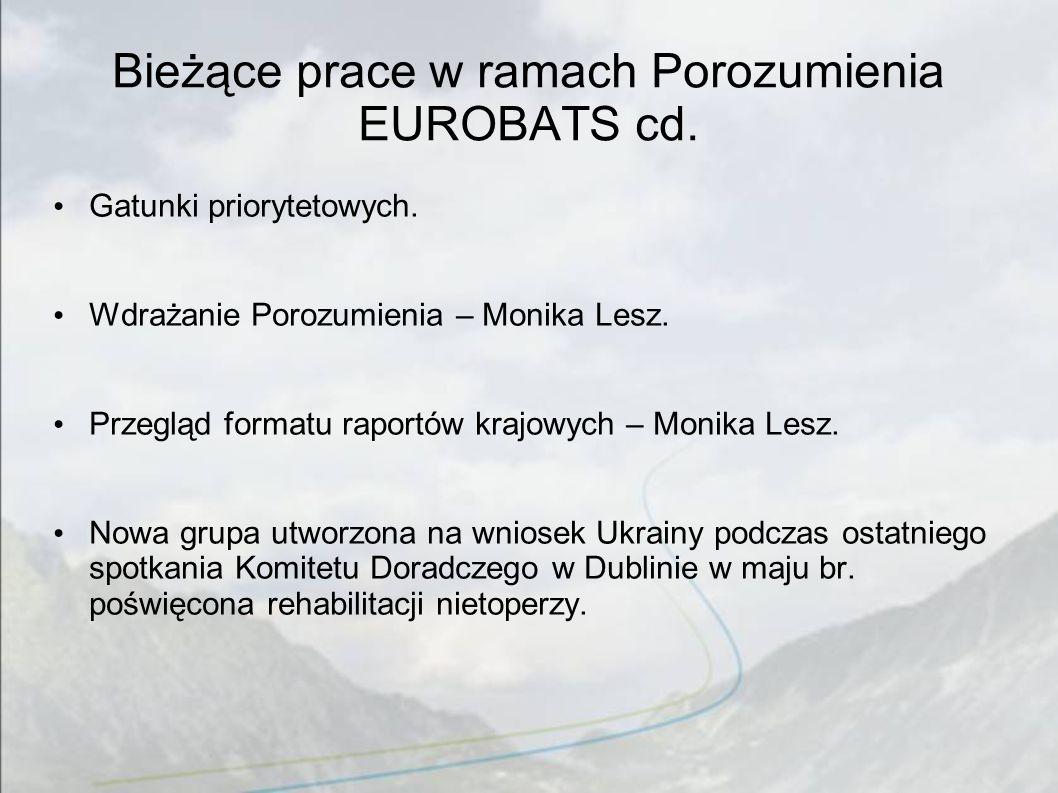 Bieżące prace w ramach Porozumienia EUROBATS cd.