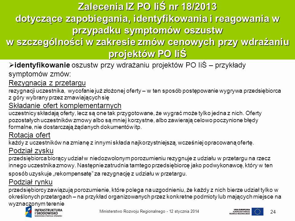 Zalecenia IZ PO IiŚ nr 18/2013 dotyczące zapobiegania, identyfikowania i reagowania w przypadku symptomów oszustw w szczególności w zakresie zmów cenowych przy wdrażaniu projektów PO IiŚ