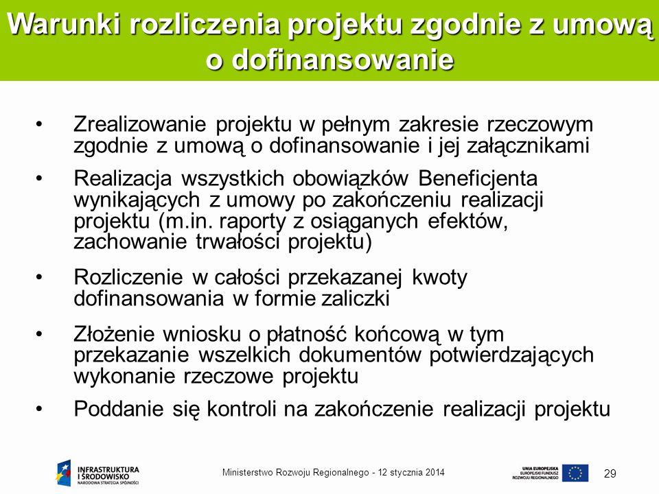 Warunki rozliczenia projektu zgodnie z umową o dofinansowanie
